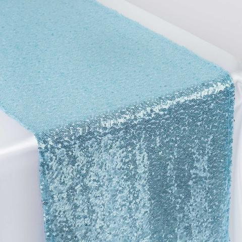 Sequin Table Runner Serenity Blue