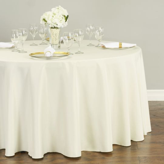 Polyester Round Tablecloth Ivory