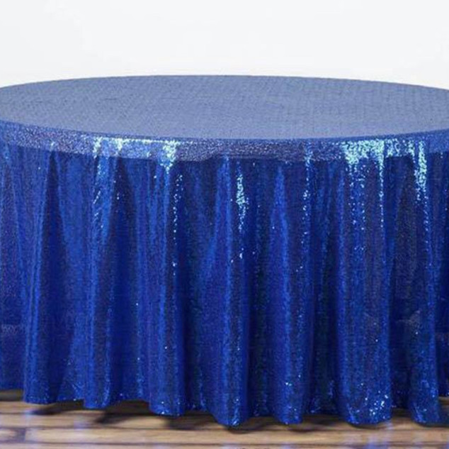Sequin Round Tablecloth Royal Blue