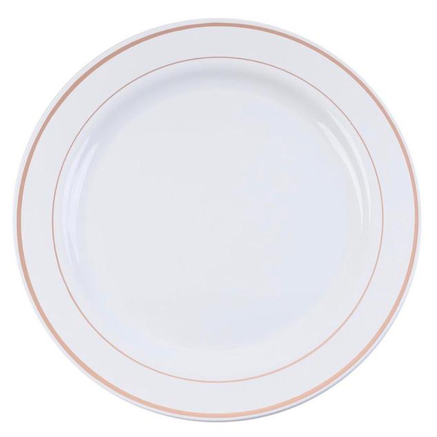 Plastic Dinner Plate White & Rose Gold