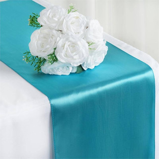 Satin Table Runner  Turquoise