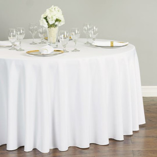 Polyester Round Tablecloth White