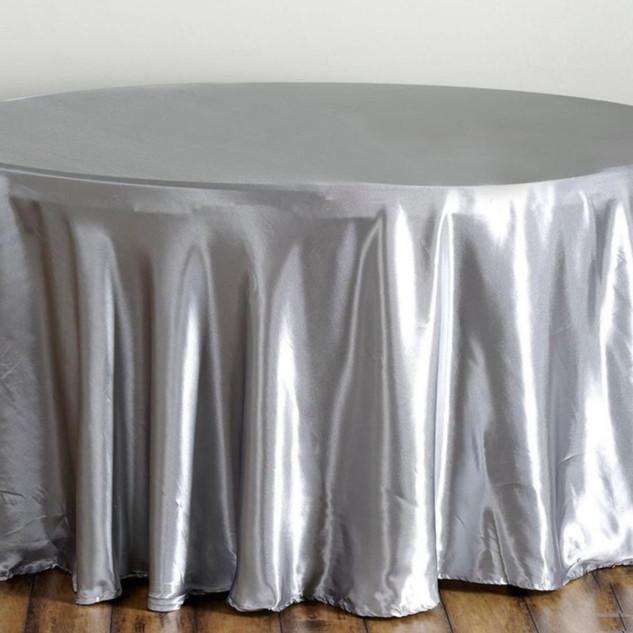 Satin Round Tablecloth Silver