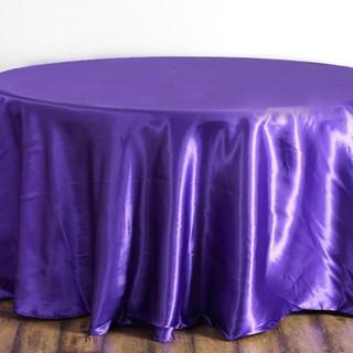 Satin Round Tablecloth Purple