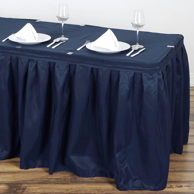 14 ft Polyester Table Skirt Navy