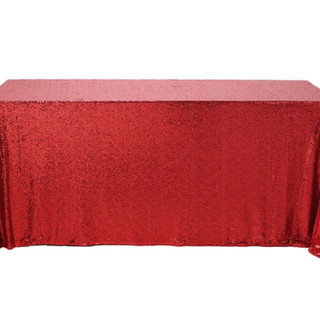 Sequin Rectangle Tablecloth Red