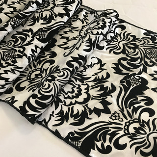 Damask Taffeta Runner Ivory & Black