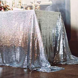 Sequin Rectangle Tablecloth Silver
