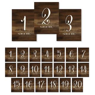 Table Numbers Set 1-20 Rustic Wood Bark
