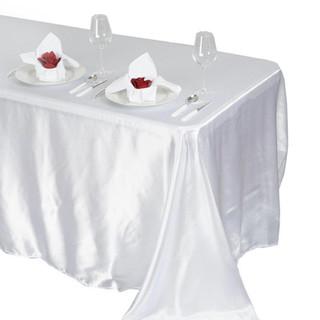 Satin Rectangle Tablecloth White