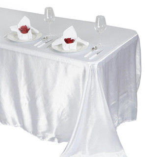Satin Rectangle Tablecloth White