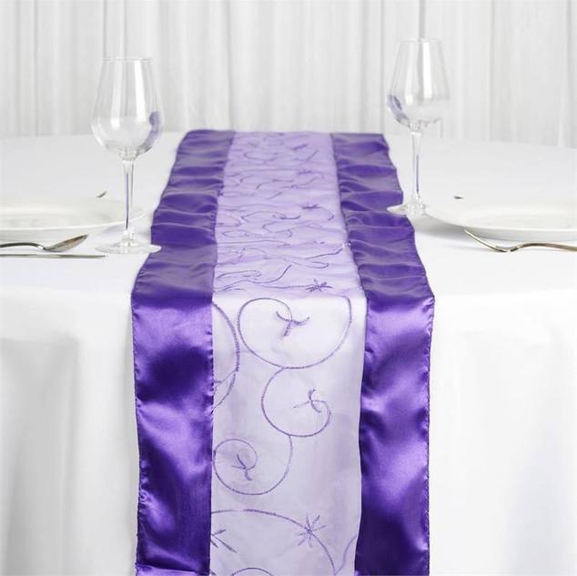 Organza Embroidered Runner Purple