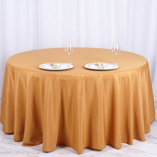 Polyester Round Tablecloth Gold