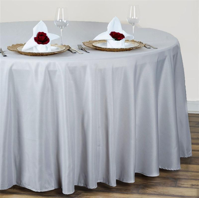 Polyester Round Tablecloth Silver