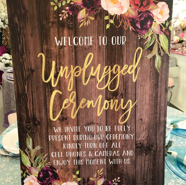 Unplugged Ceremony Sign Rustic