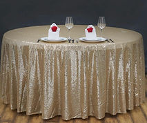 Sequin Round Tablecloth Champagne