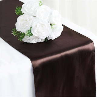 Satin Table Runner  Chocolate