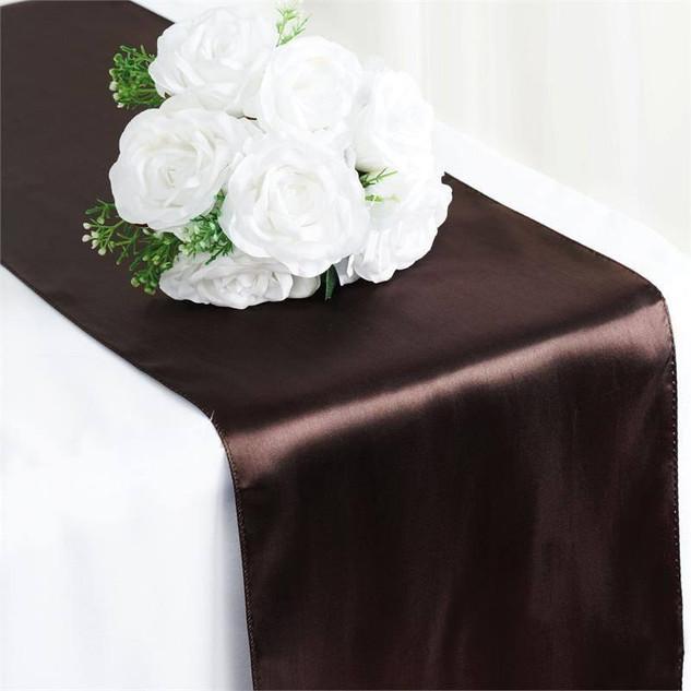 Satin Table Runner  Chocolate