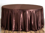 Satin Round Tablecloth Chocolate