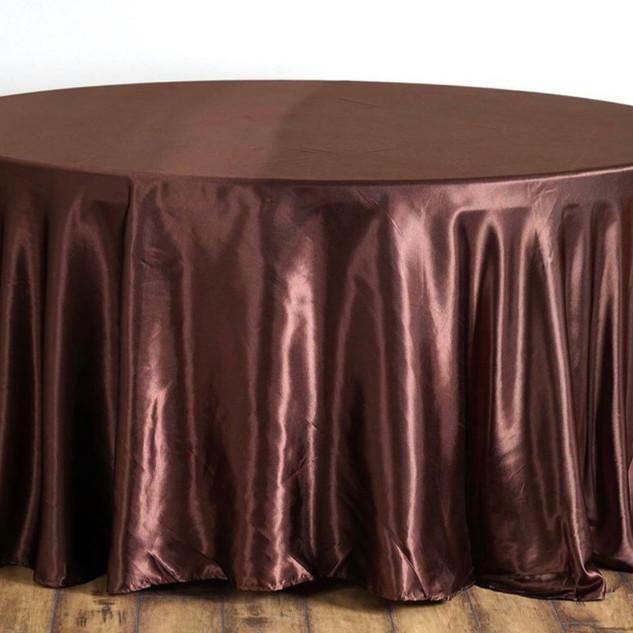 Satin Round Tablecloth Chocolate