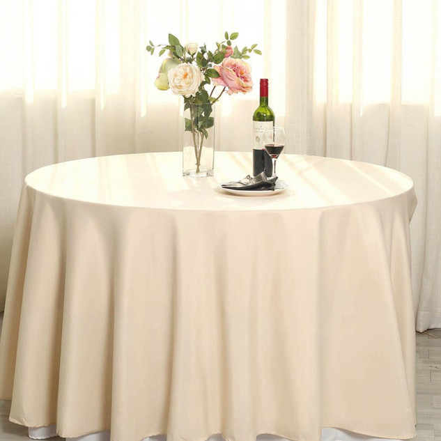 Polyester Round Tablecloth Beige