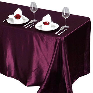 Satin Rectangle Tablecloth Eggplant