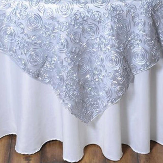 72 inch Tulle Satin Couture Overlay Silver