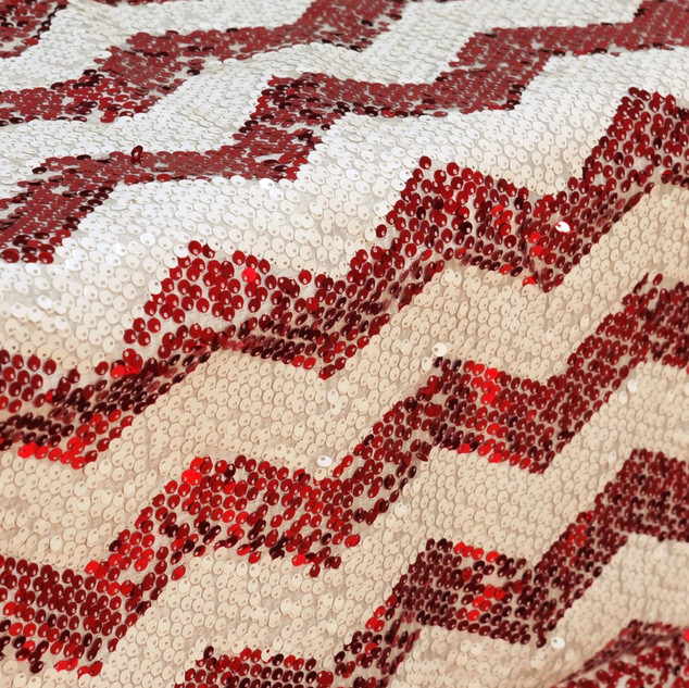 Dual Tone Chevron Sequin Runner - Red & White