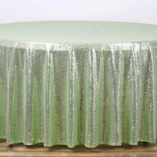 Sequin Round Tablecloth Tea Green