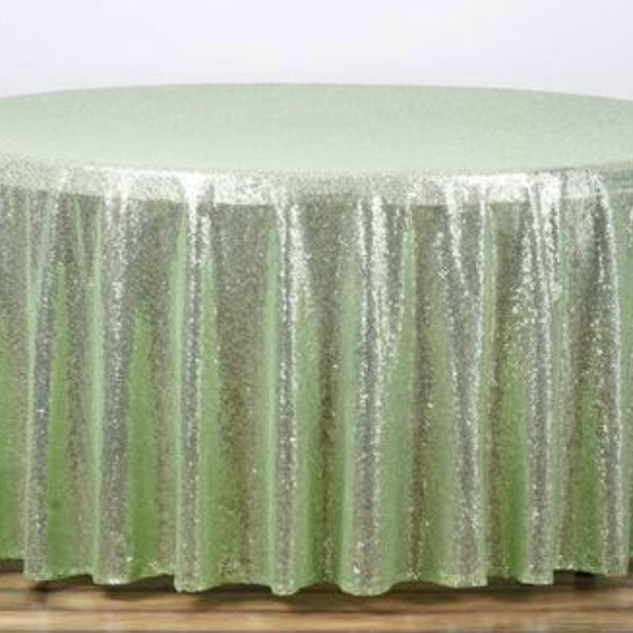 Sequin Round Tablecloth Tea Green