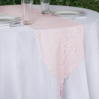Flower Design Lace Runner Pale Blush