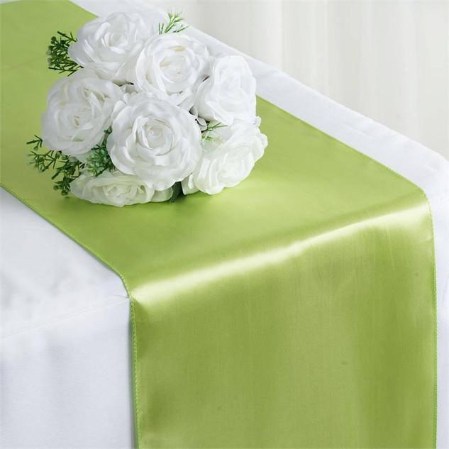 Satin Table Runner Apple Green