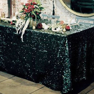 Sequin Rectangle Tablecloth Black