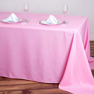 90x156 inch Polyester  Tablecloth Pink