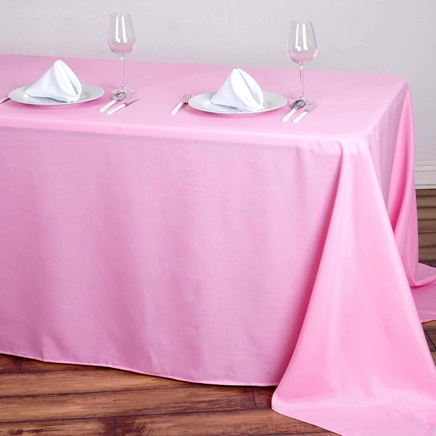 Polyester Rectangle Tablecloth Pink