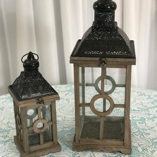 Wood Lantern with Black Accent Set