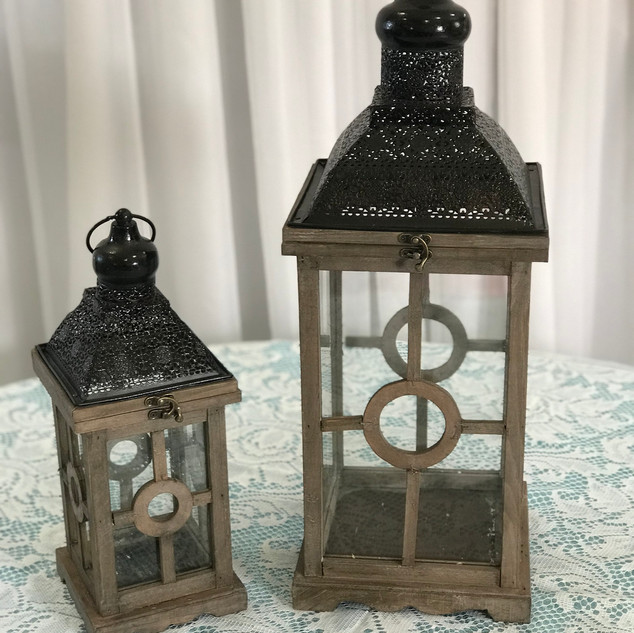 Wood Lantern with Black Accent Set