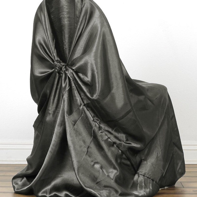 Universal Satin Chair Cover Charcoal Grey