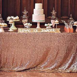Sequin Rectangle Tablecloth Blush