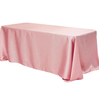 90x156inch Lamour Satin Tablecloth Dusty Rose