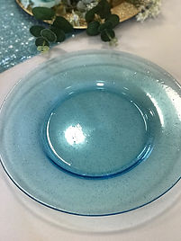Light Blue Sparkle Glass Charger Plate