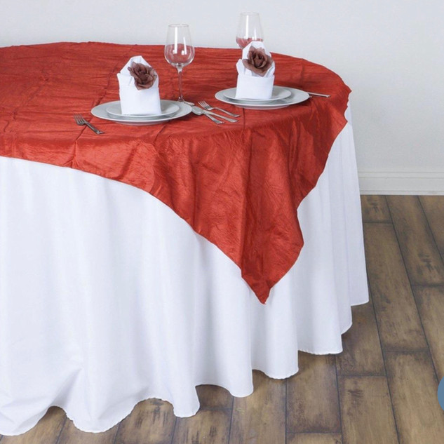 60 inch Crinkle Taffeta Overlay Burnt Orange