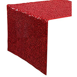 Sequin Table Runner  Red