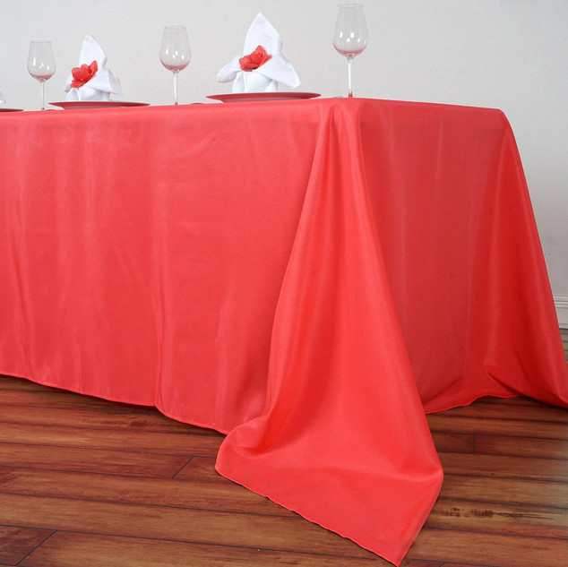 Polyester Rectangle Tablecloth Coral