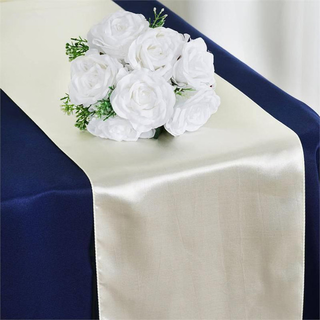 Satin Table Runner  Ivory