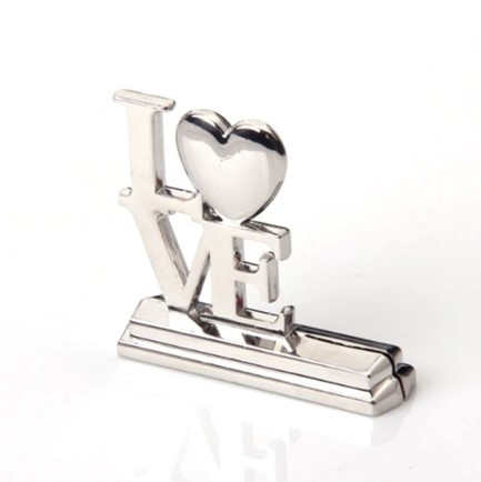 """Place Card Holder - """"Love"""" Silver with Heart"""