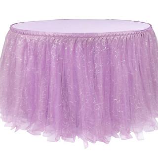 Sequin Tulle Table Skirt Lavender