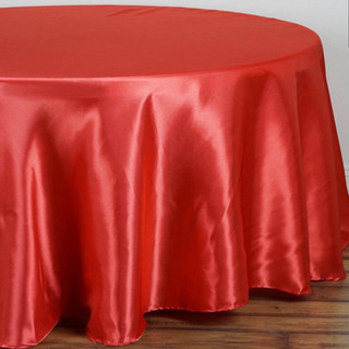 Satin Round Tablecloth Coral