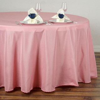 120inch Polyester Round Tablecloth Rose Quartz