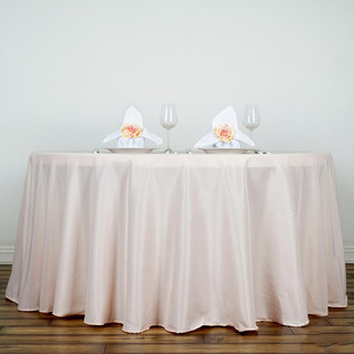120inch Polyester Round Tablecloth Pale Blush